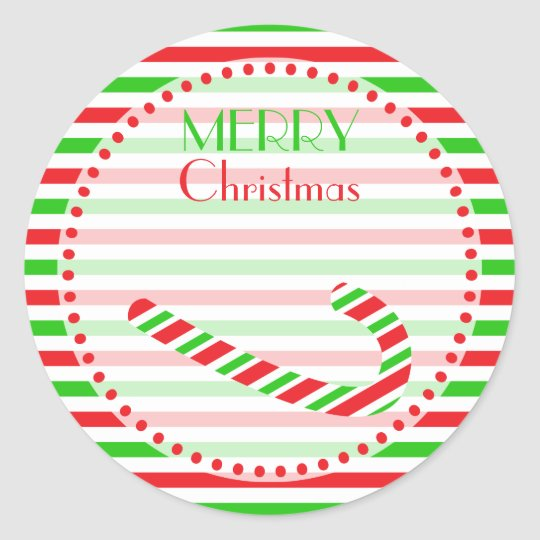 Christmas Red and Green Candy Cane and Stripes Classic Round Sticker