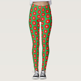 Christmas red and green design leggings