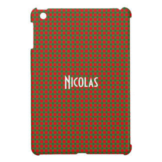 Christmas Red and Green Gingham Pattern Custom iPad Mini Covers