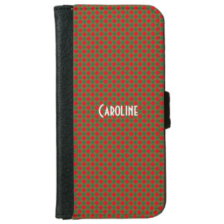 Christmas Red and Green Gingham Pattern Custom iPhone 6 Wallet Case