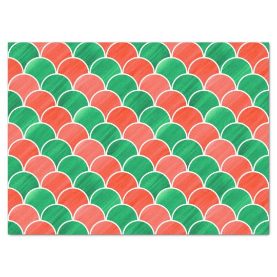 Christmas Red and Green Painted Scale Pattern Tissue Paper