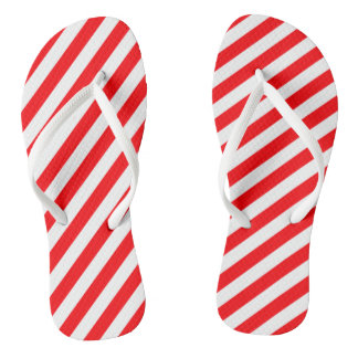 Christmas Red and White Candy Cane Stripes Flip Flops