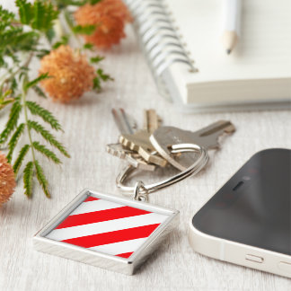 Christmas Red and White Candy Cane Stripes Keychain