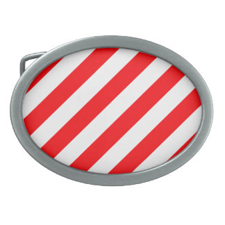 Christmas Red and White Candy Cane Stripes Oval Belt Buckle