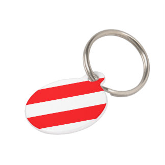 Christmas Red and White Candy Cane Stripes Pet ID Tag