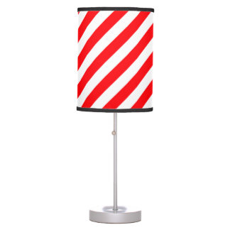 Christmas Red and White Candy Cane Stripes Table Lamp