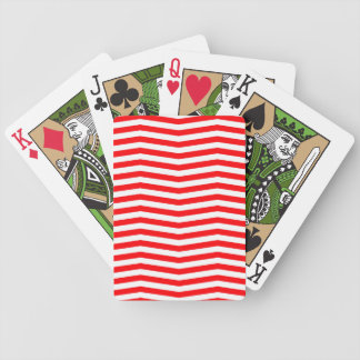 Christmas Red and White Chevron Stripes Bicycle Playing Cards