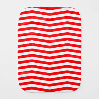 Christmas Red and White Chevron Stripes Burp Cloth