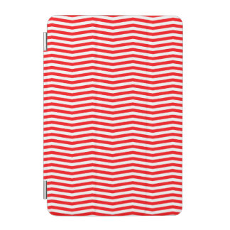 Christmas Red and White Chevron Stripes iPad Mini Cover