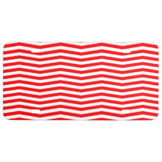 Christmas Red and White Chevron Stripes License Plate