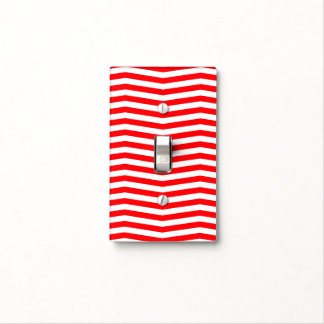 Christmas Red and White Chevron Stripes Light Switch Cover
