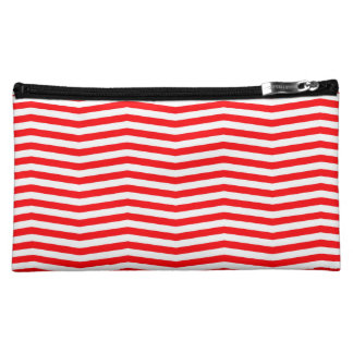 Christmas Red and White Chevron Stripes Makeup Bag