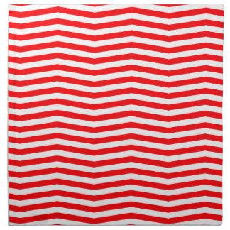 Christmas Red and White Chevron Stripes Napkin