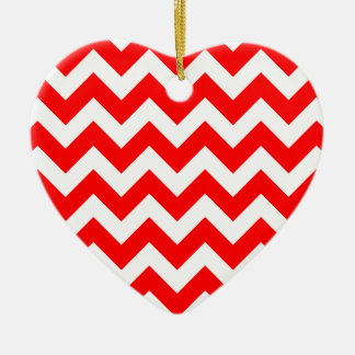 Christmas red and white chevron stripes pattern ceramic ornament