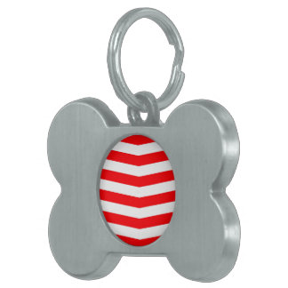 Christmas Red and White Chevron Stripes Pet ID Tag