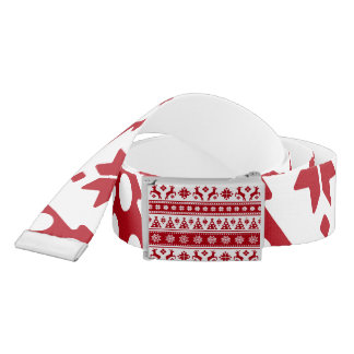 Christmas Red and White Deer and Trees Pattern