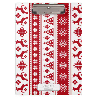Christmas Red and White Deer and Trees Pattern Clipboards