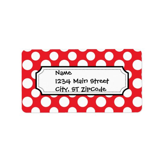 Christmas Red and White Dot Patterns Label