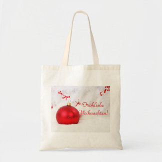 Christmas Red And White Frohliche Weihnachten Budget Tote Bag