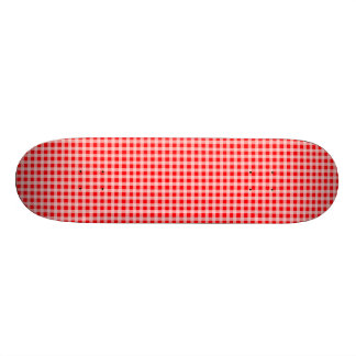 Christmas Red and White Gingham Check Pattern Skate Board