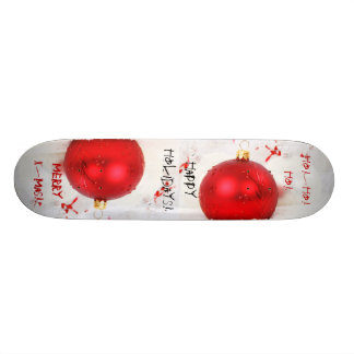 Christmas Red And White Happy Holidays VII Skateboard Deck