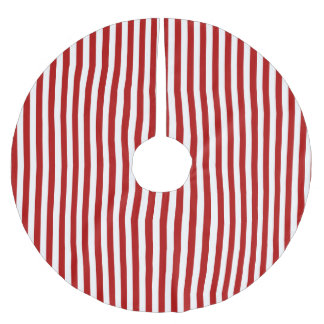 Christmas Red and White Stripped Tree Skirt Brushed Polyester Tree Skirt