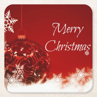 Christmas - Red Bauble and White Snowflakes Square Paper Coaster
