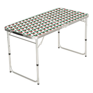 Christmas Red Berries Green Leaves Pattern Beer Pong Table