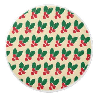 Christmas Red Berries Green Leaves Pattern Ceramic Knob