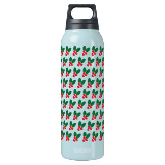 Christmas Red Berries Green Leaves Pattern Insulated Water Bottle