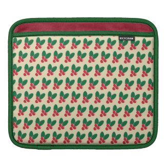 Christmas Red Berries Green Leaves Pattern iPad Sleeve