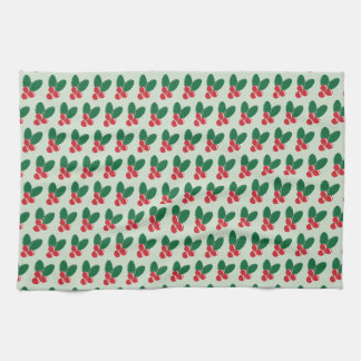 Christmas Red Berries Green Leaves Pattern Kitchen Towel