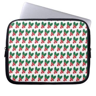 Christmas Red Berries Green Leaves Pattern Laptop Sleeve