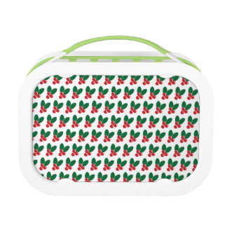 Christmas Red Berries Green Leaves Pattern Lunch Box
