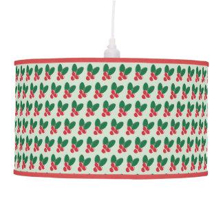 Christmas Red Berries Green Leaves Pattern Pendant Lamp
