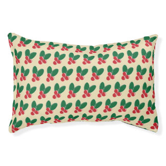 Christmas Red Berries Green Leaves Pattern Pet Bed