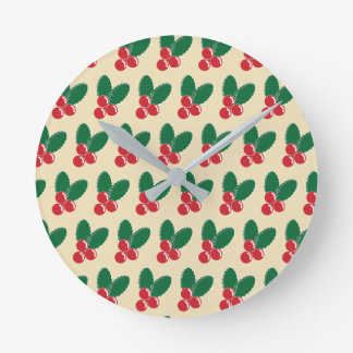 Christmas Red Berries Green Leaves Pattern Round Clock