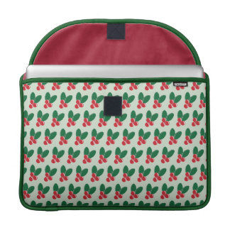 Christmas Red Berries Green Leaves Pattern Sleeve For MacBook Pro