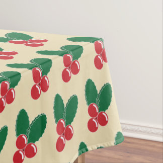 Christmas Red Berries Green Leaves Pattern Tablecloth