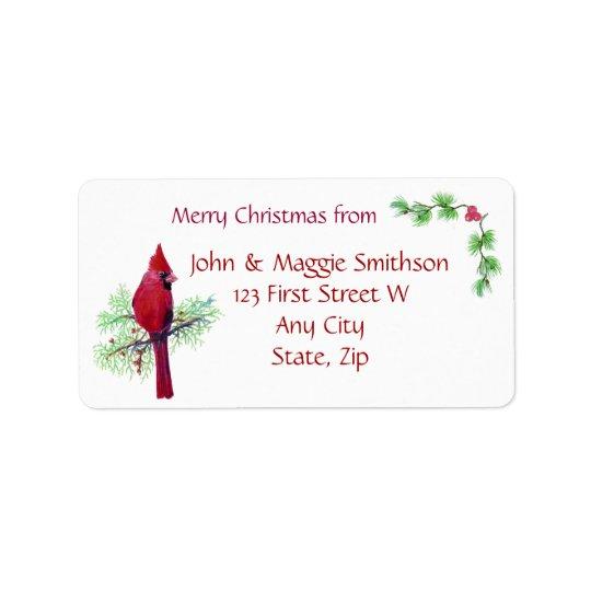 Christmas Red Bird Cardinal Address Customize Label