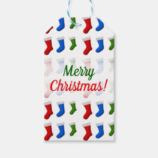 Christmas; Red, Blue and Green Christmas Stockings Gift Tags