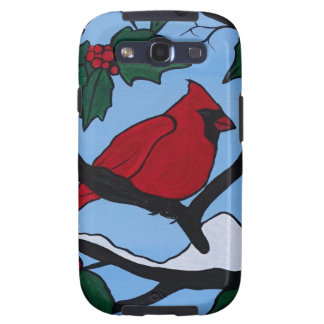 Christmas Red Cardinal Galaxy SIII Cases