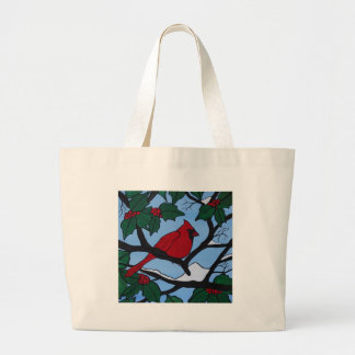 Christmas Red Cardinal Large Tote Bag