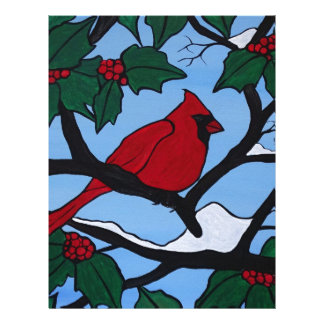 Christmas Red Cardinal Personalized Letterhead