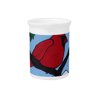 Christmas Red Cardinal Pitcher