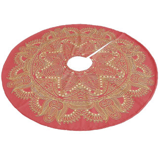 Christmas Red Faux Gold Mandala Star Pattern Fleece Tree Skirt