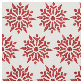 Christmas Red Glitter Look Snowflake Pattern Fabric
