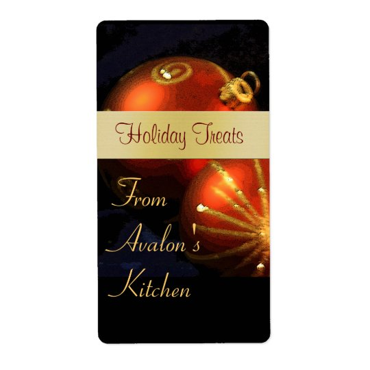 Christmas Red & Gold Kitchen Treat Baking Label Shipping Label