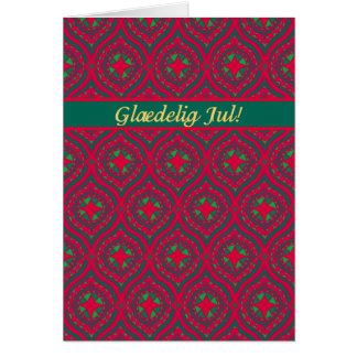 Christmas Red Green Baubles, Danish Greeting Card