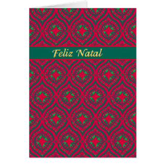 Christmas Red, Green Baubles, Portuguese Greeting Card